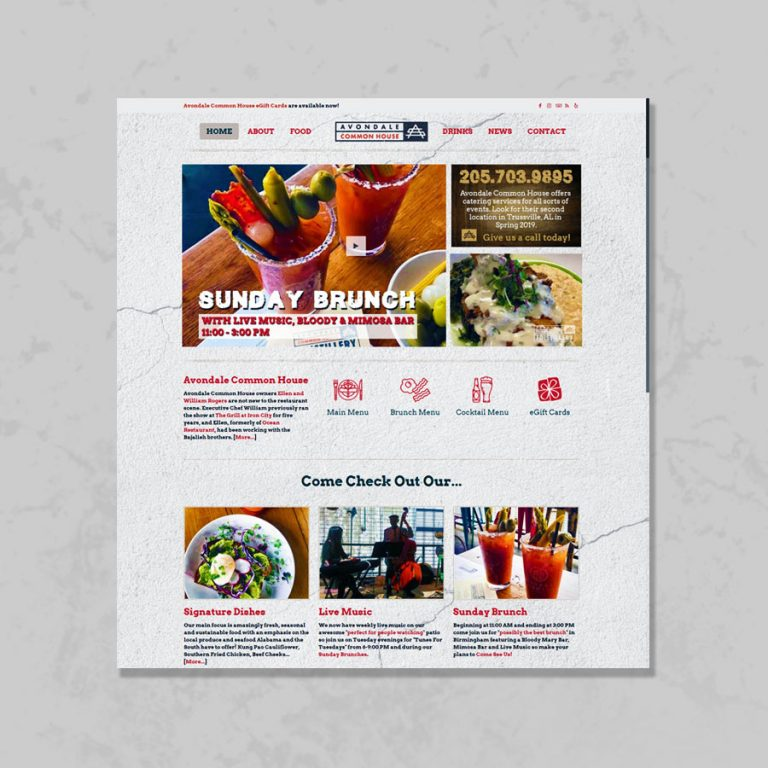 Web Design for Avondale Common House