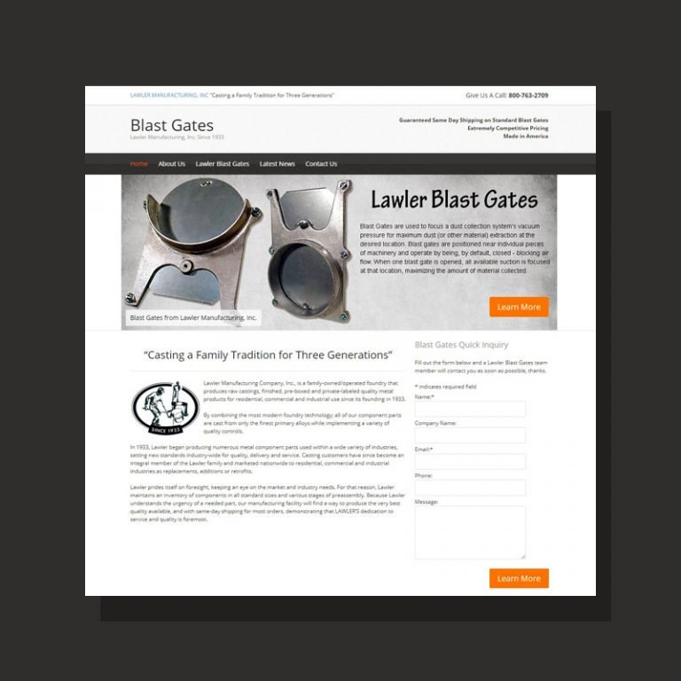 Landing Page Design for Lawler Mfg