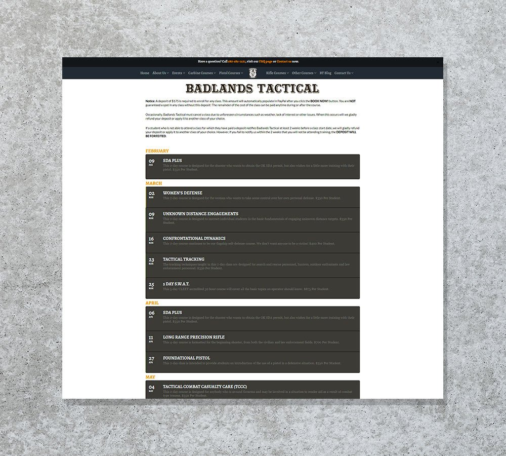 Website development for Badlands Tactical