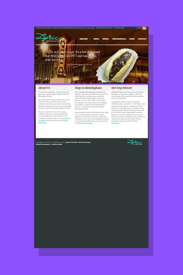 Web Design for Lyric Hot Dogs